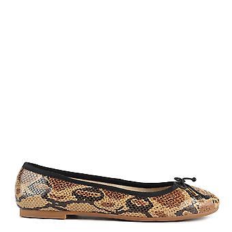 Elia B Shoes Stefania Python Effect Ballet Flat