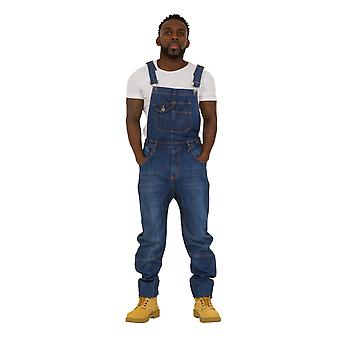 USKEES DANNY Mens Relaxed Fit Dungarees - Darkwash Denim Bib Overalls Loose Fit