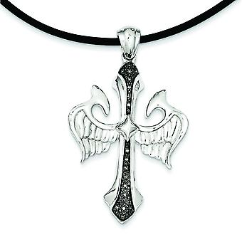 Sterling Silver Polished Prong set Open back Gift Boxed Lobster Claw Closure Diamond Black Rhodium-plated Cross and Wing