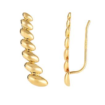 14K Yellow Gold Graduated Oval Series Climber Earrings