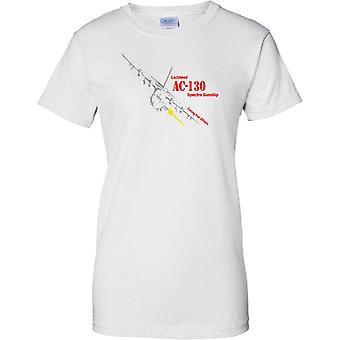 ميلان-130 شبح حربية-إطلاق النار على قميص تي للسيدات أثر-طائرات السلاح الجوي الأميركي-