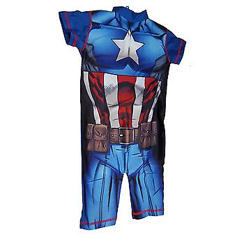Boys Marvel Character Captain America UV50+ Protection Beach Swimming Costume