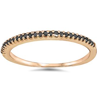 1/10ct Black Diamond Stackable Ring 14K Rose Gold