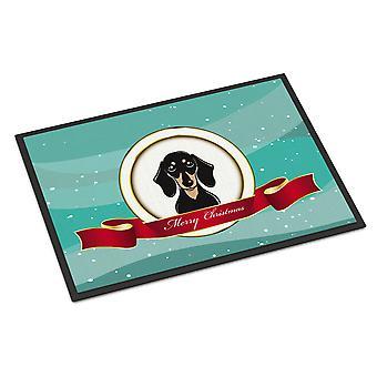 Glatt schwarz und Tan Dackel Frohe Weihnachten Indoor oder Outdoor Matte 18 x 27