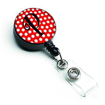 Letter P eerste Monogram rode zwarte Polka Dots intrekbare Badge Reel