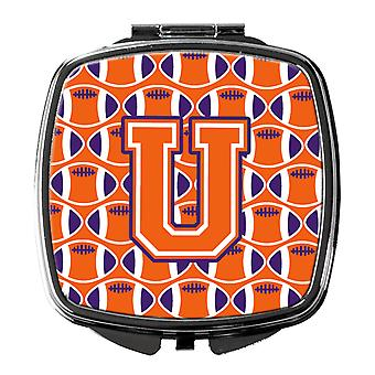 Letter U Football Orange, White and Regalia Compact Mirror