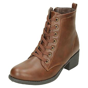 Ladies Spot On Mid Heel Lace Up Ankle Boots F50863
