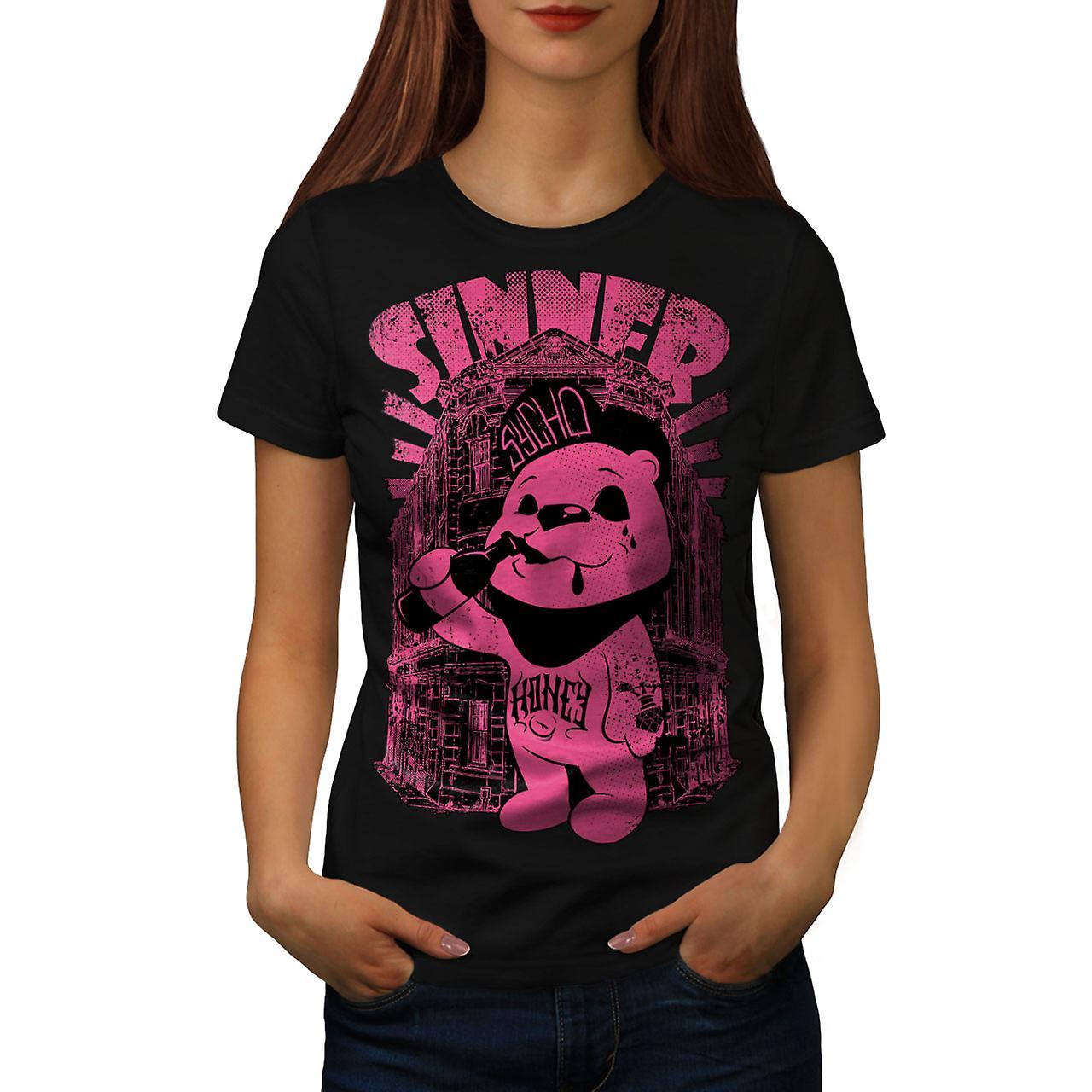 Sinner Teddy Ted Bear Women Black T-shirt | Wellcoda