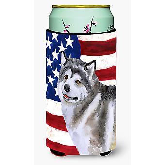 Alaskan Malamute Patriotic Tall Boy Beverage Insulator Hugger