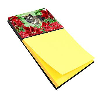 Carolines Treasures  CK1317SN American Akita Poinsettas Sticky Note Holder