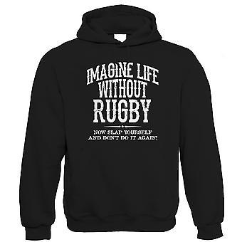 Życie bez Rugby śmieszne męskie Bluzy z kapturem (od S do 5XL)
