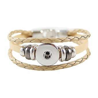 Leather Bracelet For Click Buttons Kb0829-be