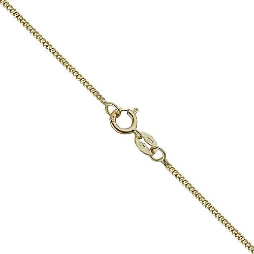 18ct Gold 26x21mm plain oval Disc with a curb Chain 16 inches Only Suitable for Children