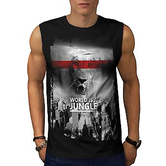 World Jungle Lion Fashion Men BlackSleeveless T-shirt | Wellcoda