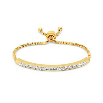Ladies 18K Gold Plated White Simulated Diamond Id Drawstring Bracelet