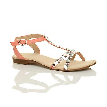 Ajvani womens flat low heel t-bar diamante gems ankle strap summer sandals shoes