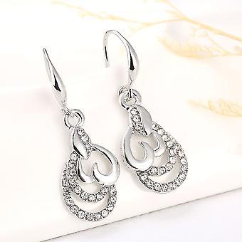 Beautiful Silver Heart Drop Earrings Crystal Stones Pendant BG1592