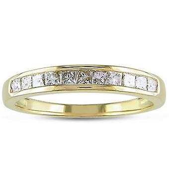 خاتم زفاف الأميرة قطع الماس 3/8 ط م ك 14 الذهب الأصفر