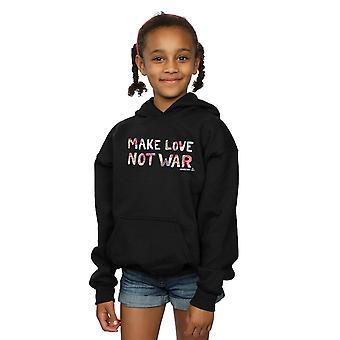 Woodstock Girls Make Love Not War Floral Hoodie