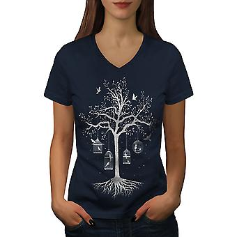 Fantastic Cage Tree Women NavyV-Neck T-shirt | Wellcoda