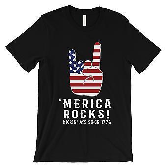 Merica Rocks T-Shirt Mens Black 4th of Shirt Gift For Army Husband