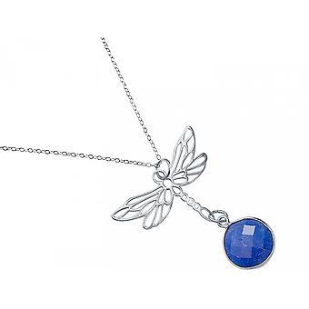 Gemshine - damer - halsband - hänge - 925 Silver - Dragonfly - sapphire - blå - 45 cm