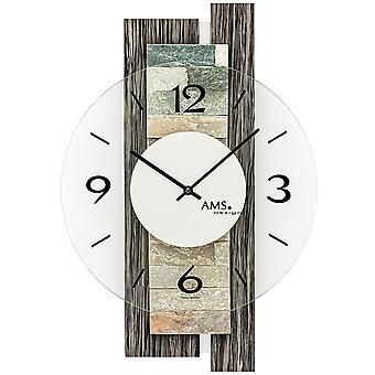Wall clock quartz analog modern grey wood look with natural stone and mineral glass 40 x 28 cm
