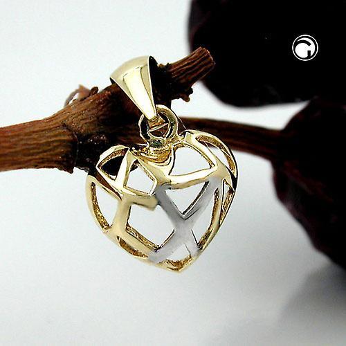Mini Herzanhänger gold 375 Anhänger Herz durchbrochen, 9 Kt GOLD