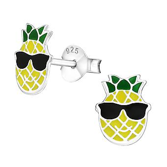 Happy Pineapple - 925 Sterling Silver Colourful Ear Studs
