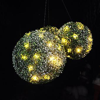 3 x Kingfisher Snow Effect Topiary Balls With Warm White LED Lights & Snow Effect