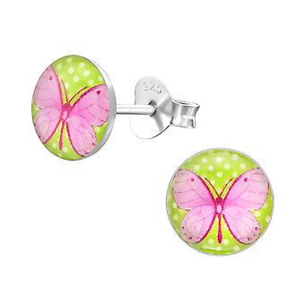 Butterfly - 925 Sterling Silver Colourful Ear Studs - W19717x