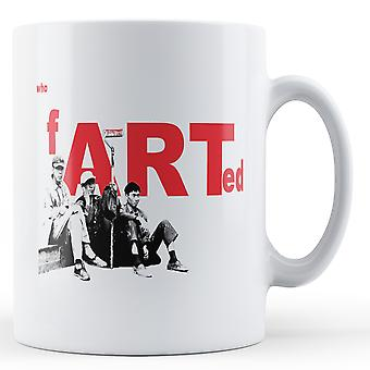 Printed mug featuring Banksy's, 'Who Farted Art' artwork