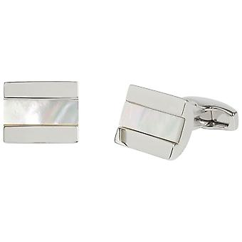 Simon Carter Chunky Half Barrel Mother of Pearl Cufflinks - White/Silver