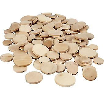 320 Flat Wood Assorted Button Style Beads for Crafts