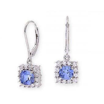 Stjärniga bröllop ringar Sterling Silver örhänge Set med blå safir pärla sten och vita safirer