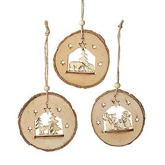 Heaven Sends Trio Of Bark Tree Decorations