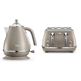 Delonghi Elements Kettle and Toaster Set Beige