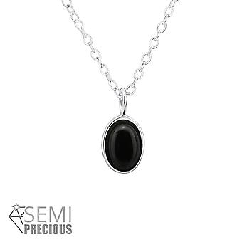 Oval - 925 Sterling Silver Jewelled Necklaces - W31097X