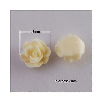Pakiet 25 x krem żywicy plecy płaskie 13mm kwiat 6mm grubości kaboszon Y04570