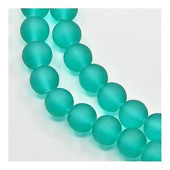 Filamento de 195 + Teal verde vidrio 4mm esmerilado llano redondo Y05105 de granos