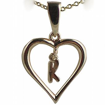9ct Gold 18x18mm initial K in a heart Pendant with a cable Chain 20 inches