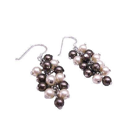 Swarovski Brown & Ivory Pearls 92.5 Sterling Silver Earrings