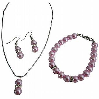 Unbeatable Price Pink Pearls Necklace Earrings Bracelet For Girls