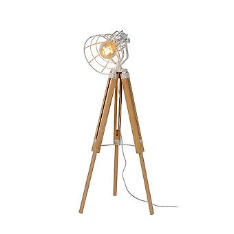 Lucide Joshua Cottage Triangle Wood White And Light Wood Floor Lamp