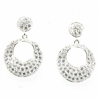 Toc Sterling Silver Sparkly Open Circle Wave Drop Earrings