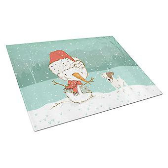 Jack Russell Terrier Snowman Christmas Glass Cutting Board Large