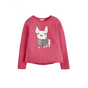 Joules Junior Raya Girls Slub Jersey Top - Dark Pink Sequin Pug