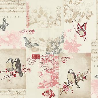 Holden Decor Songbird Bird Butterfly Rose Patterned Postcard Cream Fond d'écran 11264