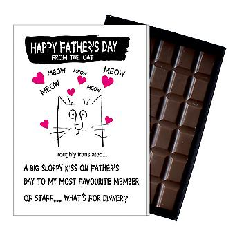 Funny Father's Day Gift From Cat Lover Chocolate Present Card Dad Daddy 144