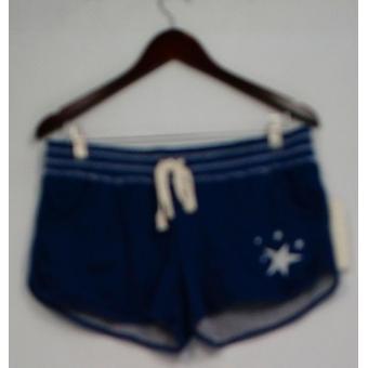 P.J. Salvage Shorts Elastic Drawstring Waist Printed Navy Blue